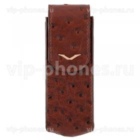 Кожаный чехол для Vertu Signature S Design Brown Ostrich Gold